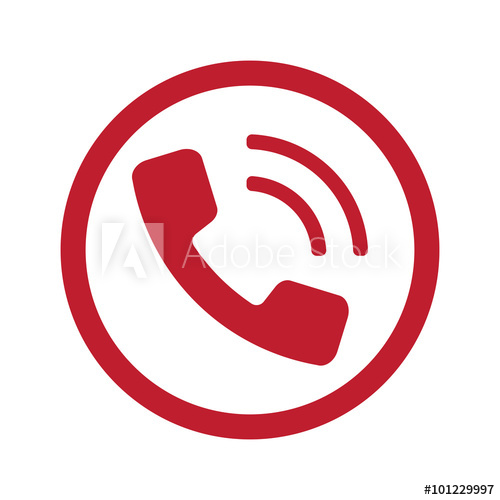Flat Red Phone Icon In Circle On White Buy This Stock Vector And Explore Similar Vectors At Adobe Stock Adobe Stock Phone Icon Icon Circle