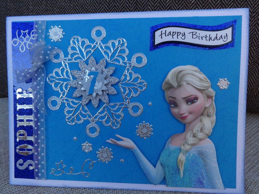 Disney Frozen Girls Personalised Hand Made Birthday Card Frozen Birthday Cards Birthday Cards Images Frozen Cards