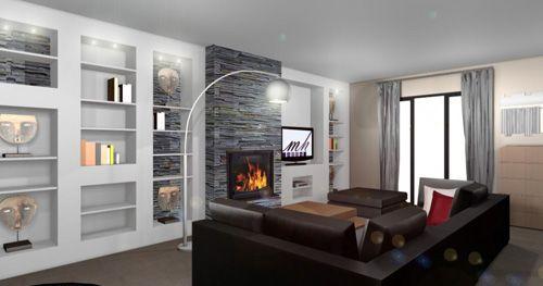Salon d co gris taupe blanc et noir espaces de la maison for Objet deco noir blanc interieur