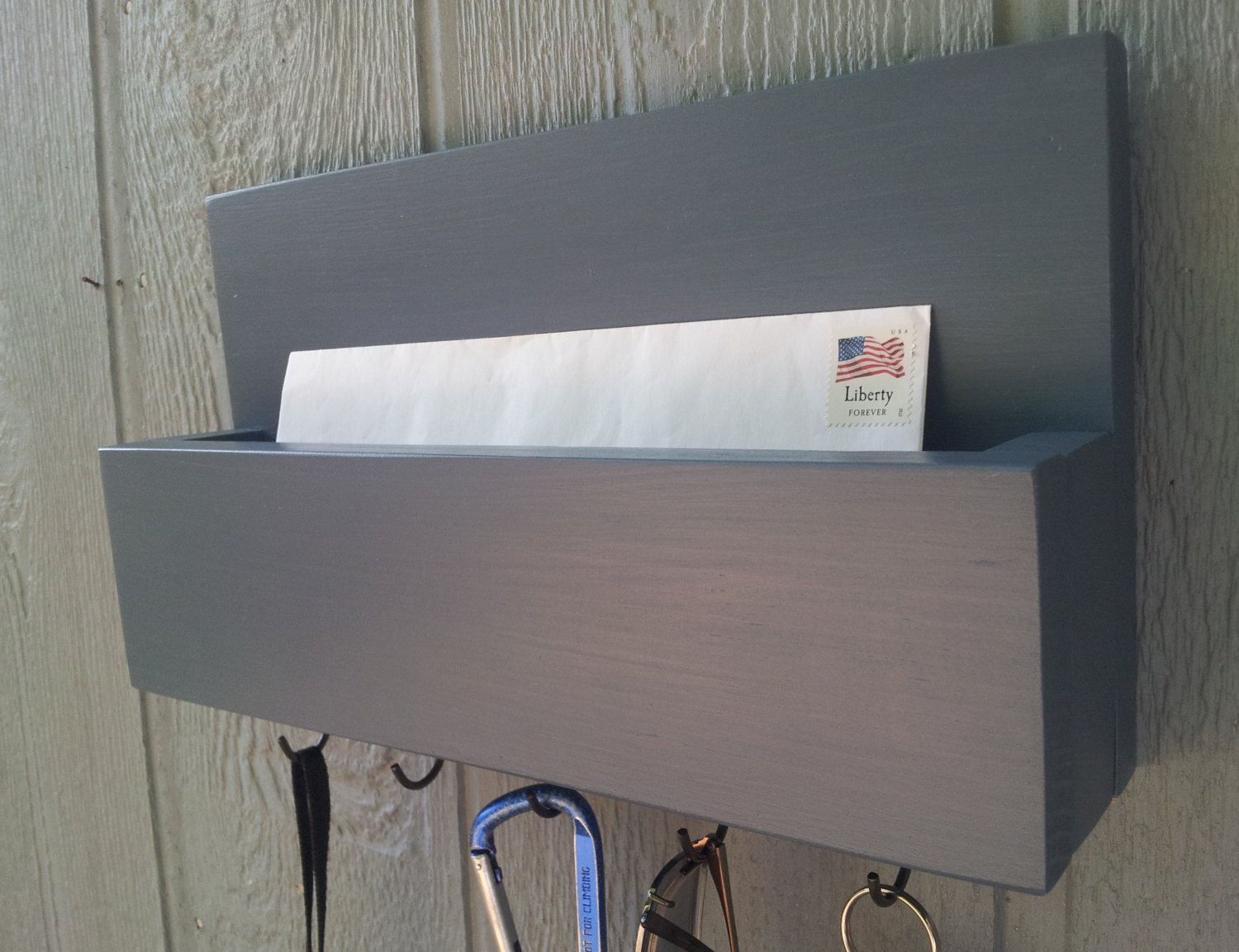 Mail and Key Rack / Mail Organizer / Mail and Key Holder / Key Hooks / Painted - Windsor Haze / Blue by CedarOaks on Etsy https://www.etsy.com/listing/164783677/mail-and-key-rack-mail-organizer-mail