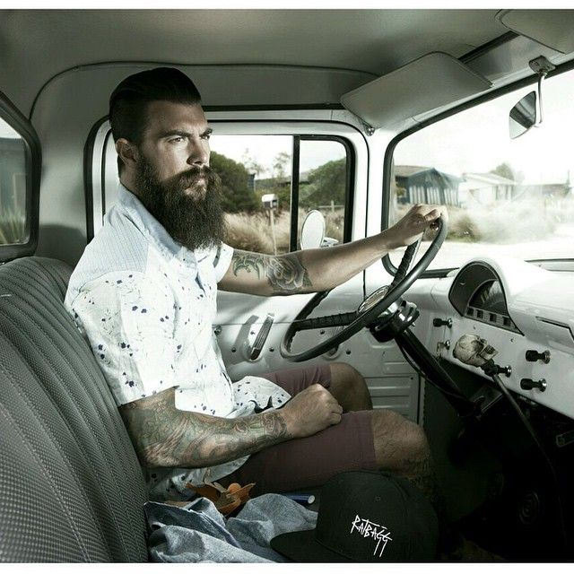 Dave Driskell - full thick dark beard and huge mustache beards bearded man men mens' style fashion vintage retro look antique truck hair cut style hairstyles groomed barber tattoos tattooed handsome #beardsforever