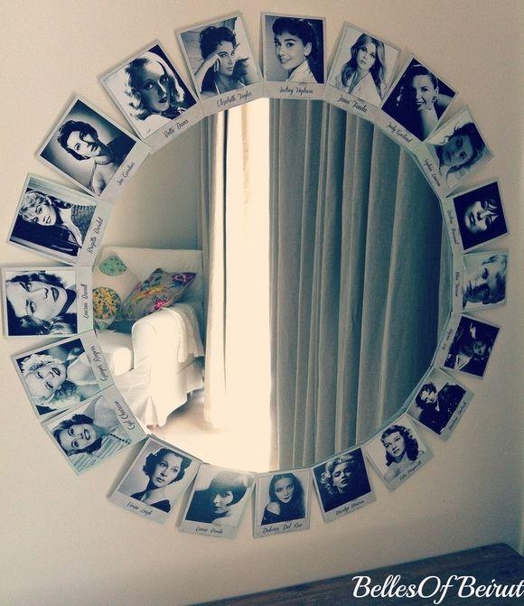 Puedes crear tu espejo con fotografías en forma circular.   Espejos ...