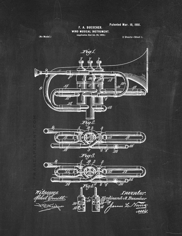 Size and Frame Options Trumpet Brass Musical Instrument Patent Art Print Decor