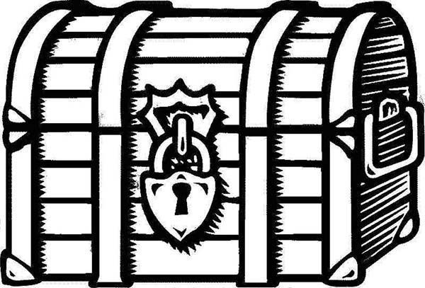 Treasure Chest A Drawing Of Locked Treasure Chest Coloring Page