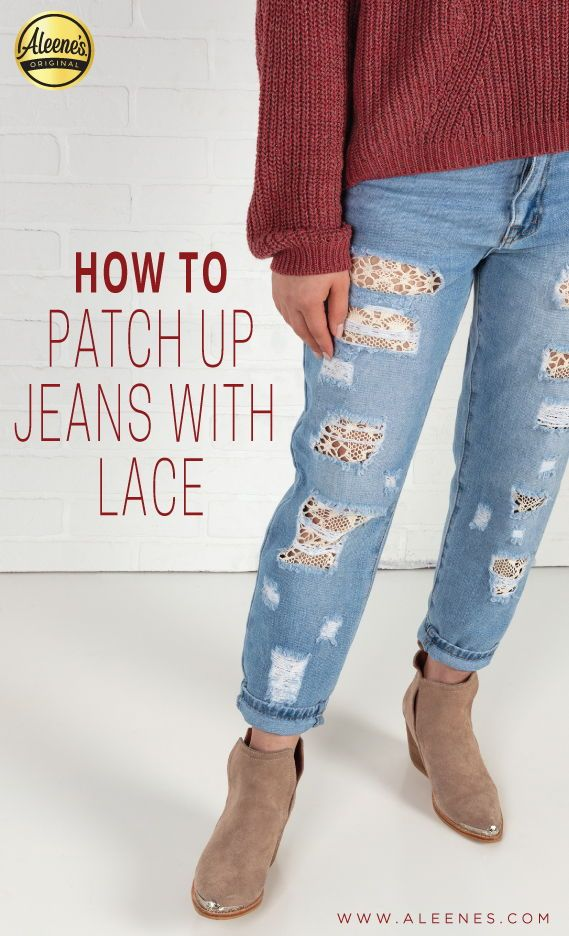 Diy Lace Jean Patch Up Diyupcycledjeans Diyrecycledjeans Recycledjeans Upcycledjeans Fashionupcycle La Diy Ripped Jeans Diy Lace Jeans Patched Pants Diy