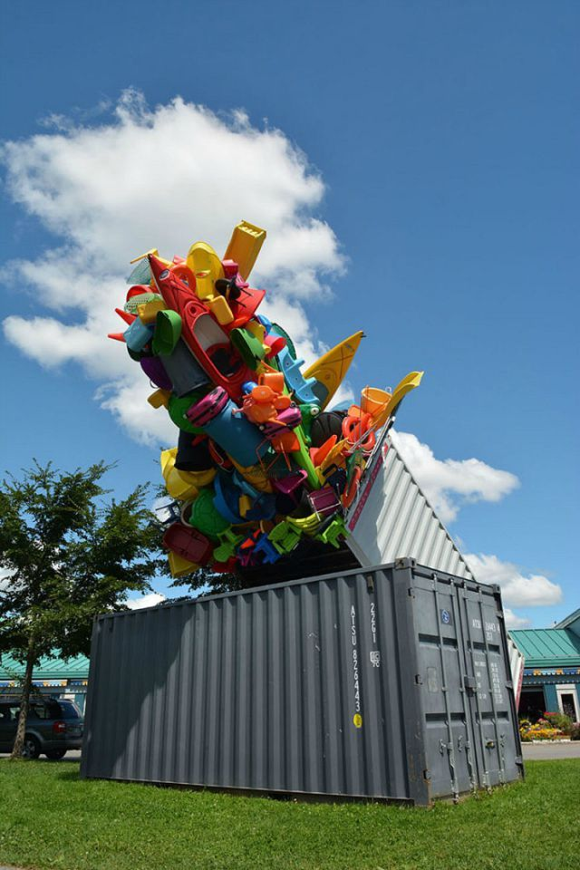 Overflow: A Large Scale Installation Made out of Plastic Objects Bursting out of Shipping Containers #Art #Sculpture   Installation art. Public ...
