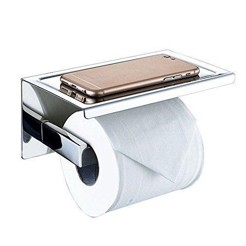 Self Adhesive Sus 304 Stainless Steel Toilet Paper Holder Storage Bathroom Kitchen Paper Towel Toilet Paper Roll Holder Toilet Paper Holder Kitchen Paper Towel