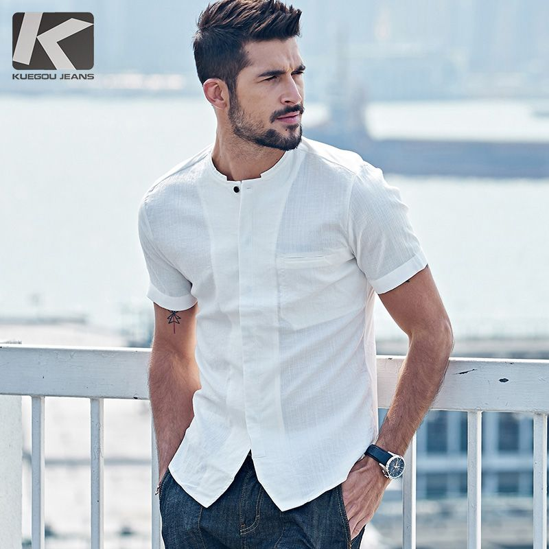 Pop Design Mens Slim Fit Unique Neckline Stylish Dress Long Sleeve Casual Shirt