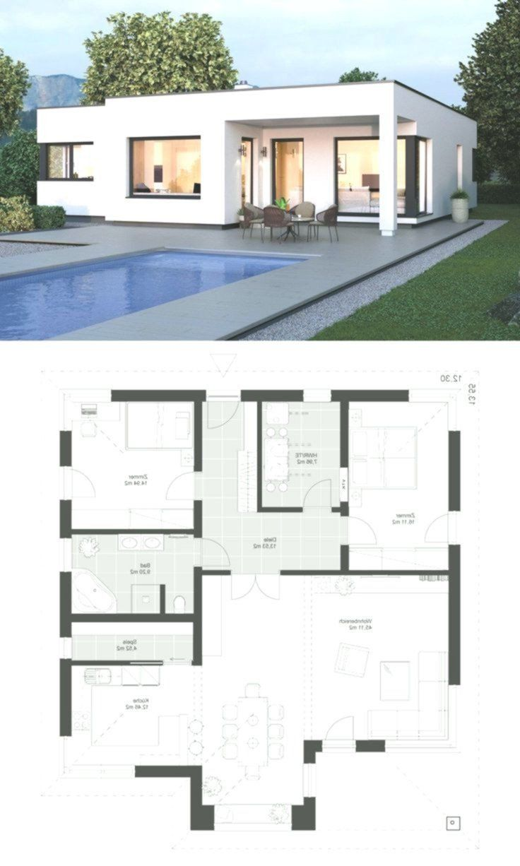 Flat Roof Modern House Floor Plans Modern Bungalow In Bauhaus Design With Flat Roof In 2020 Flat Roof House Modern Bungalow Beautiful House Plans