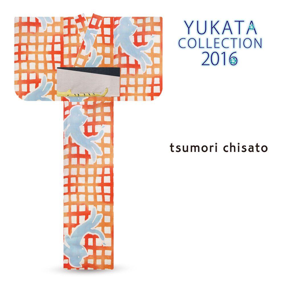 2016 Summer tsumori chisato Yukata Orange Lattice Pattern Cat
