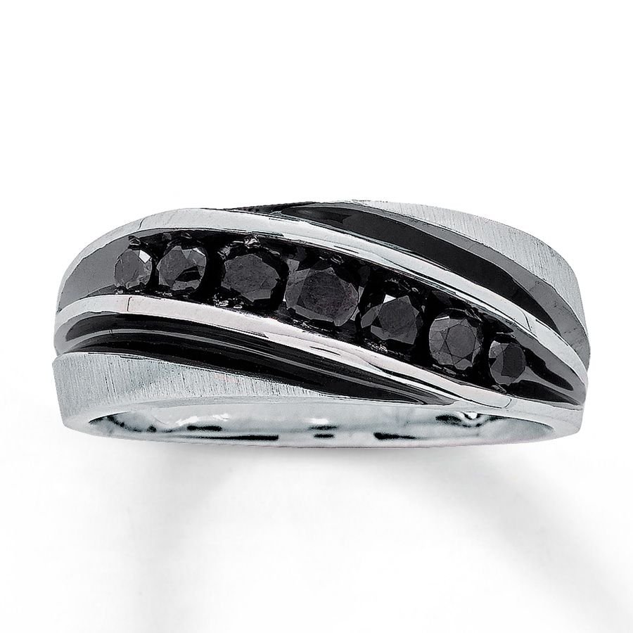 Jared Mens Black Diamond Band 34 ct tw RoundCut 10K White Gold