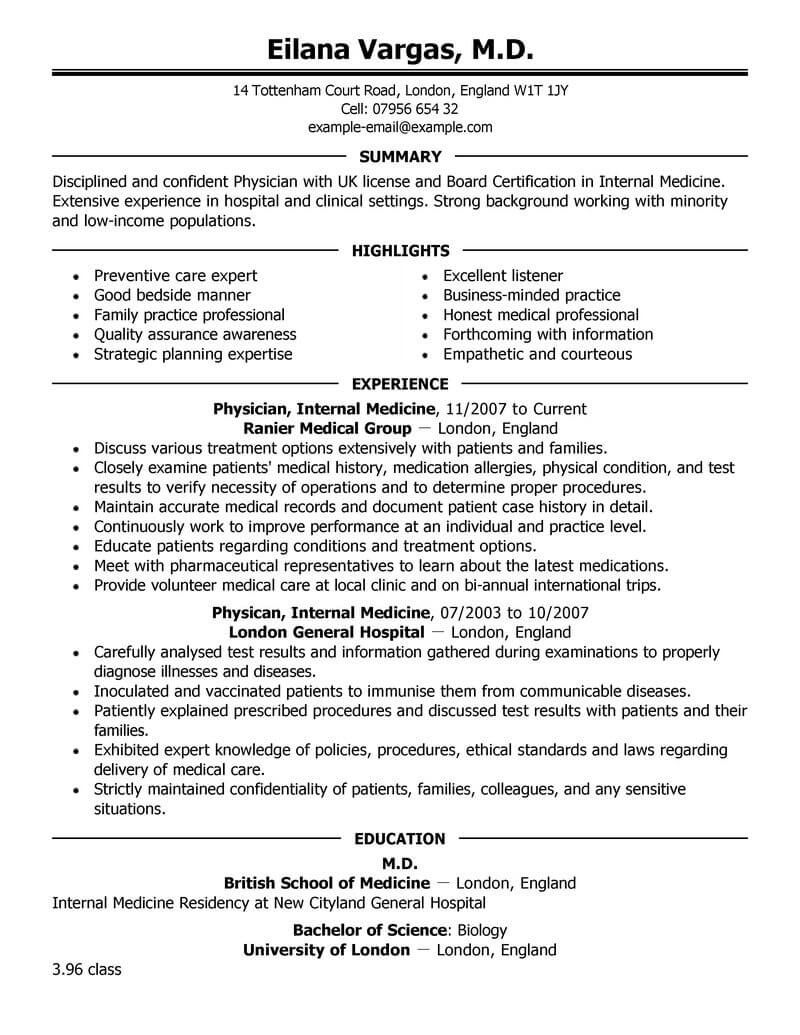 Cv Template Medical Doctor | ronak | Professional resume ...