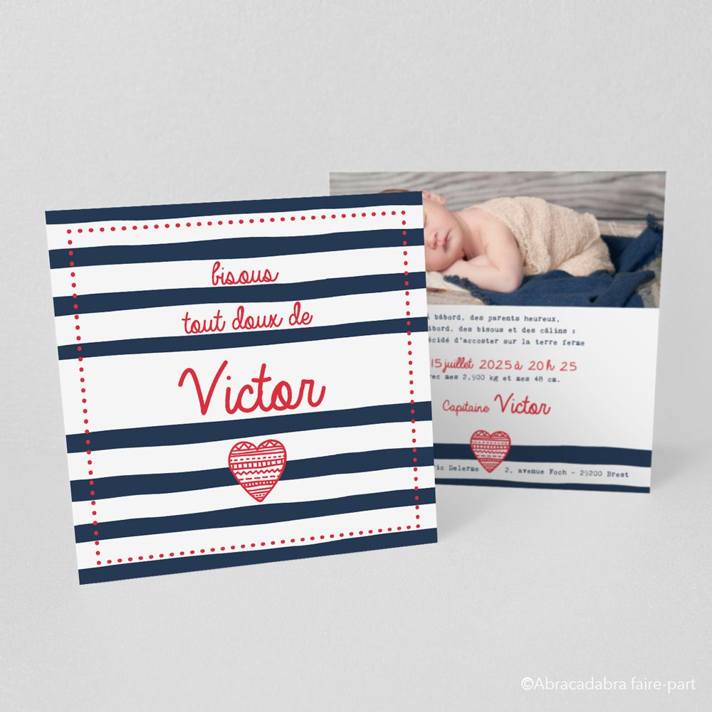 Announcement of birth or baptism marine small and big hugs! -Victor model