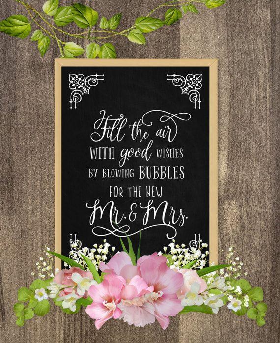 Blow bubbles wedding sign, Bubble send off sign, Wedding