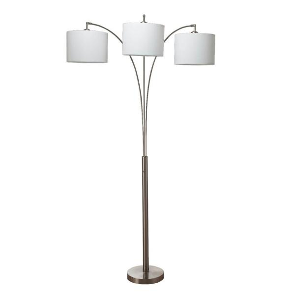 Ore International Nikolai 84 In Brush Silver 3 Arc Floor Lamp 6939snwh The Home Depot In 2020 Metal Floor Lamps Silver Floor Lamp Floor Lamp