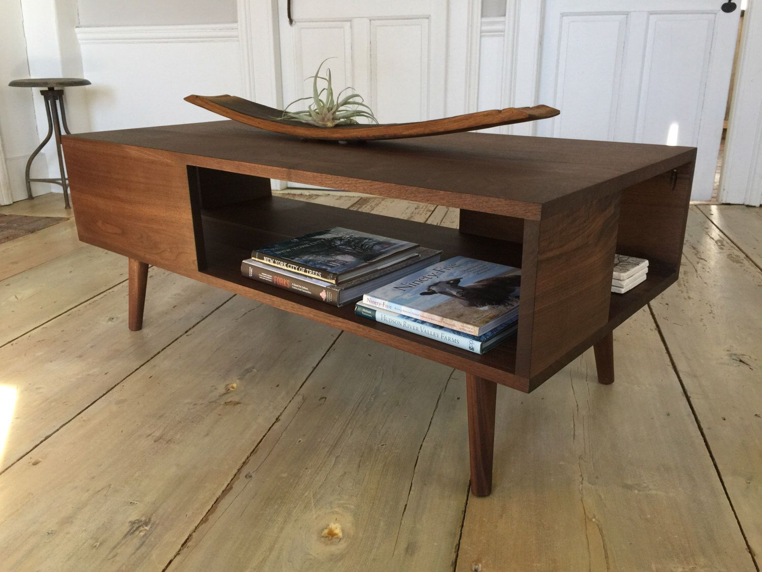 fat boy mid century modern coffee table with storage featuring black walnut u0026 tapered wood