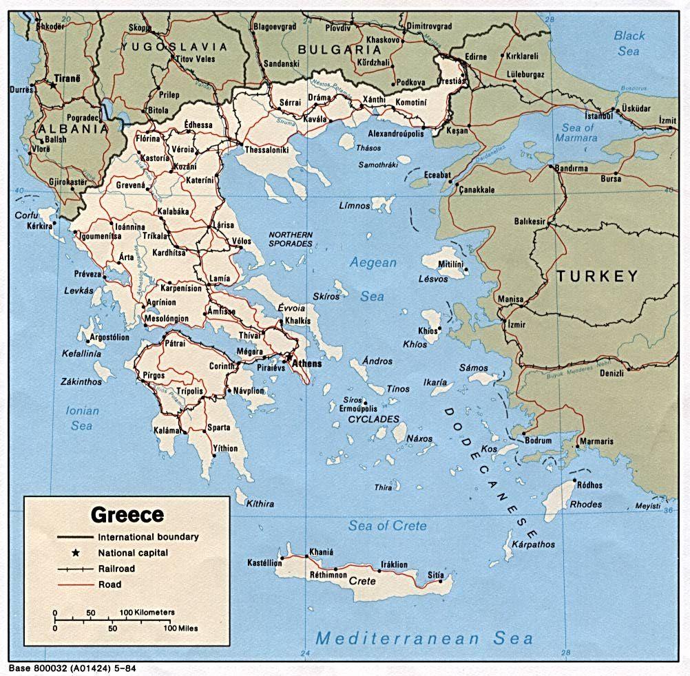 Graekenland Geografiske Kort Over Graekenland Dansk Encyklopaedi
