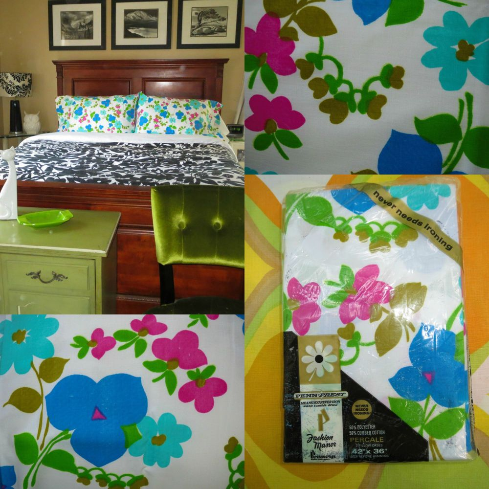 vtg 1970s retro flower power mod nos nip penneys fashion manor pillow cases