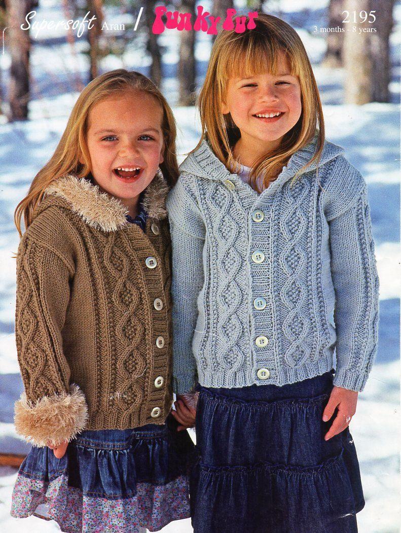 "Baby childrens Knitting Pattern Aran Cable Jackets Boys Girls 18-28/"""