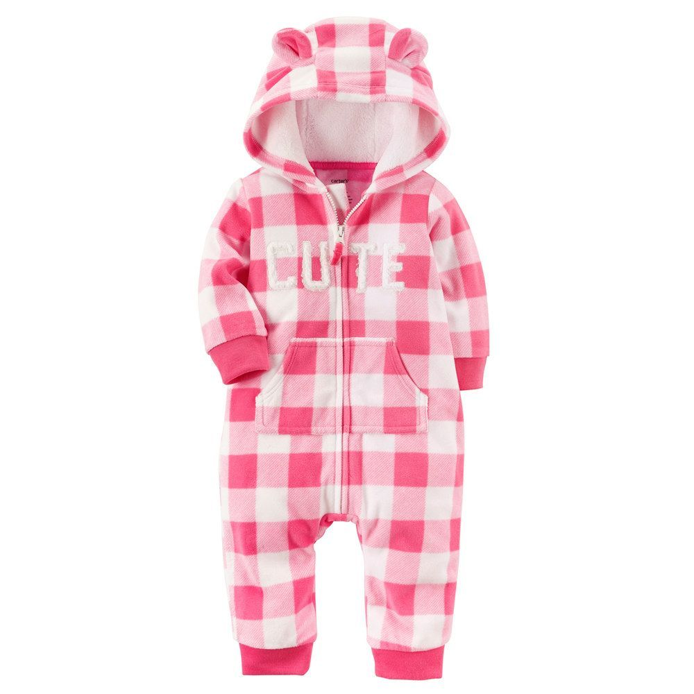 Baby Girl Carter S Cute Pink Checkered Fleece Hooded Jumpsuit