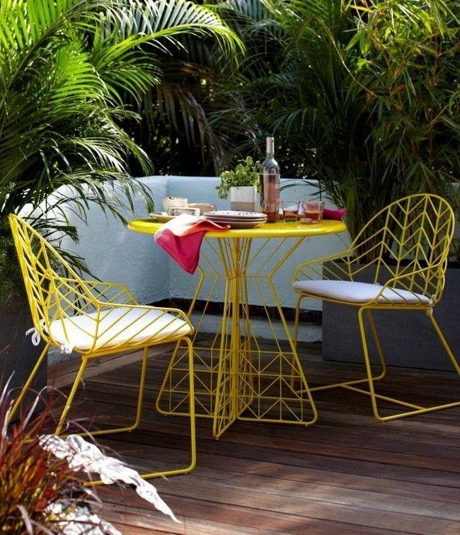 Salon de jardin fer forgé jaune Jardin Pinterest