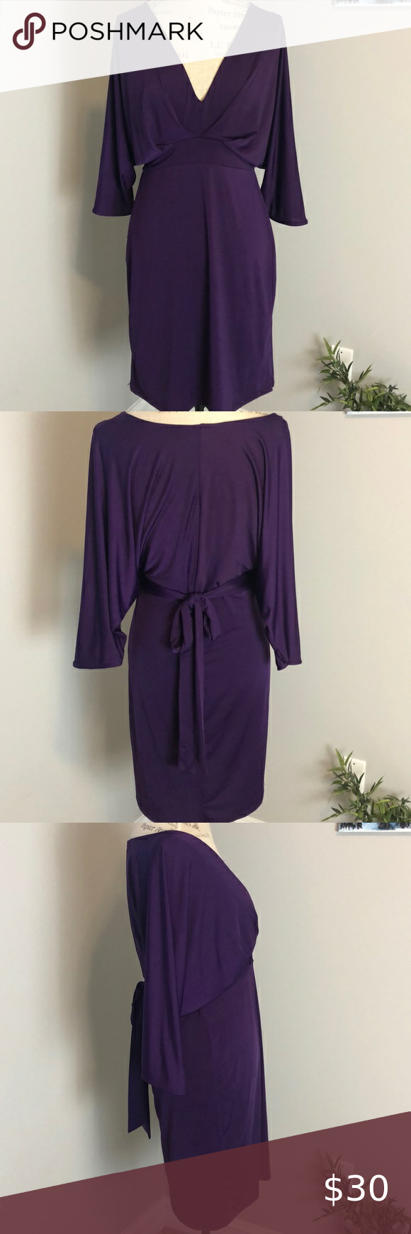 A Wear Purple V Neck Dress Excellent Worn Once Condition Stretchy Material 1 2 Dolman Sleeves Kept In Maroon Long Sleeve Dress Mini Shirt Dress V Neck Dress [ 1740 x 580 Pixel ]