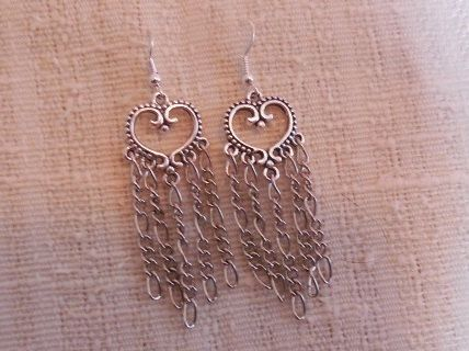 Heart shaped earrings handmade with chain accents in by KANDYLEES, $22.00