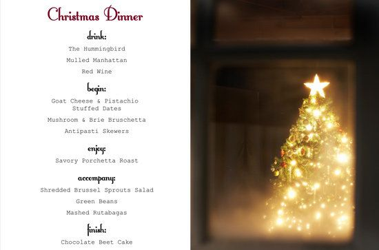 a classy christmas dinner menu - Simple Christmas Menu