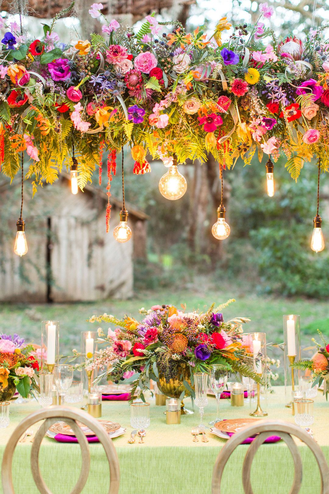 MYRTLE BEACH WEDDINGS - Vibrant Sunnyside Plantation wedding inspiration with floral chandelier and spanish moss