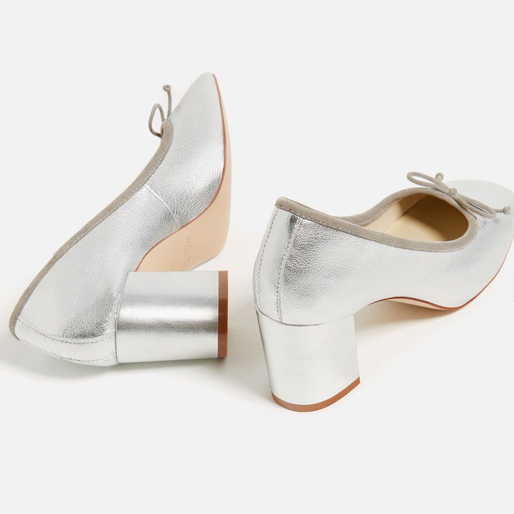 LAMINATED LEATHER BALLERINAS WITH HEEL - COLLECTION-SALE-WOMAN