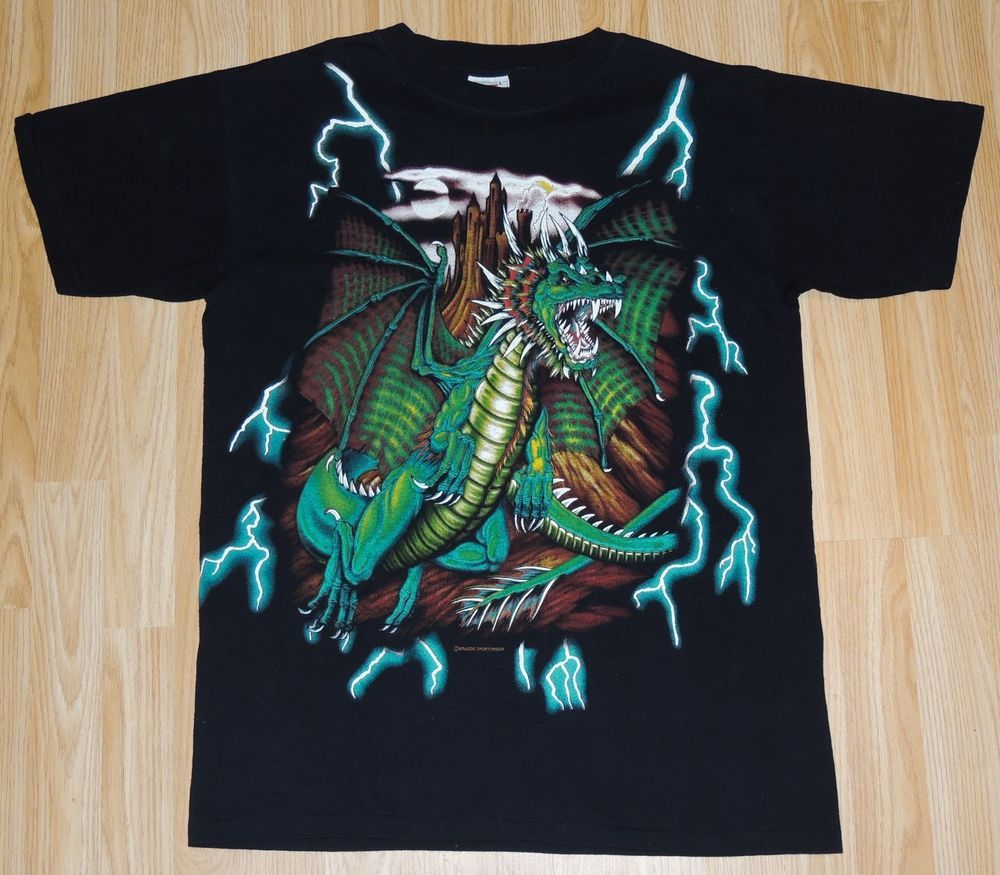 ee5a9e3e0 VTG American Thunder Dragon Full Front Graphic SS T-Shirt Size L KANYE RAP  TEE  fashion  clothing  shoes  accessories  vintage  mensvintageclothing  (ebay ...
