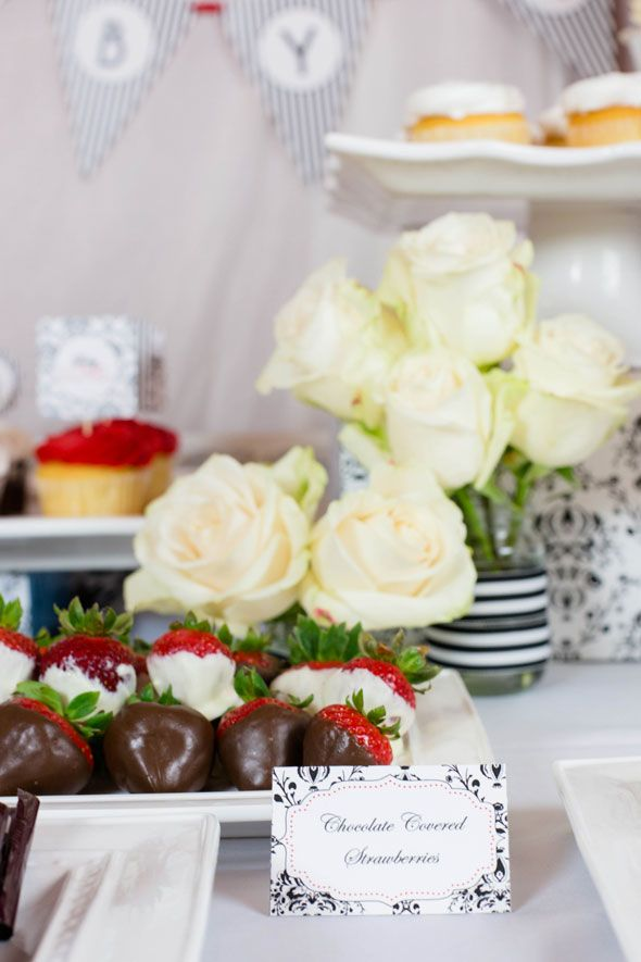 Baby Love Themed Baby Shower- chocolate covered strawberries.