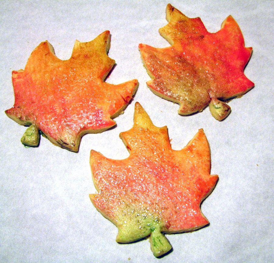 Autumn leaf sugar cookies painted with egg yolk glaze: 1 whole egg ...