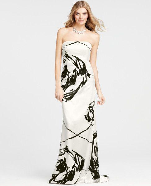 Want- For Paris! Ann Taylor - Floral Brush Print Strapless Gown