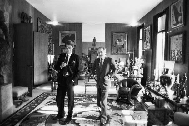 Yves Saint Laurent and Pierre Berge at home, rue de Babylone Paris 1982