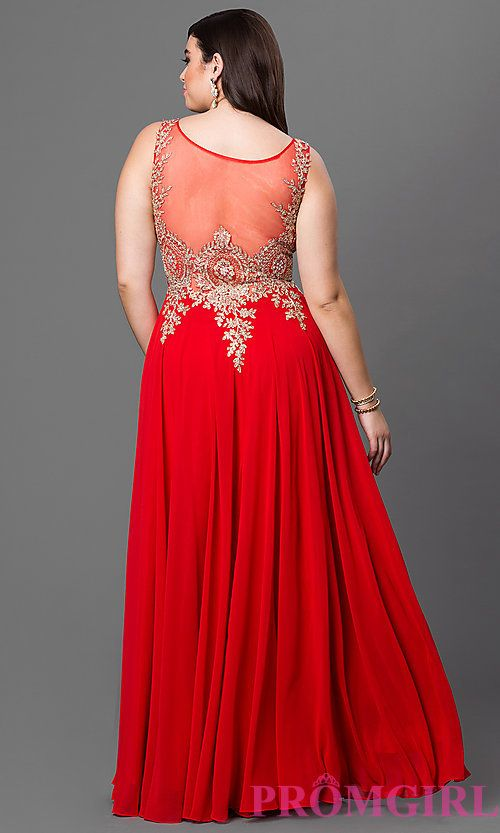 3810a8db3b4 Image of long sleeveless plus size sheer back chiffon prom dress with jewel  embellished lace applique. Style  DQ-9191P Back Image