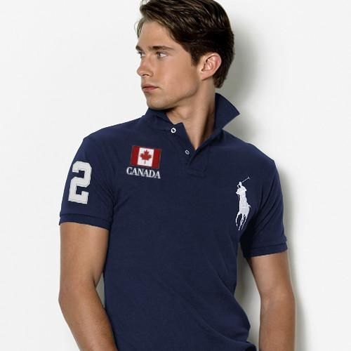 Ralph Lauren Slim Custom Fit Canada Flag Polo Blue White