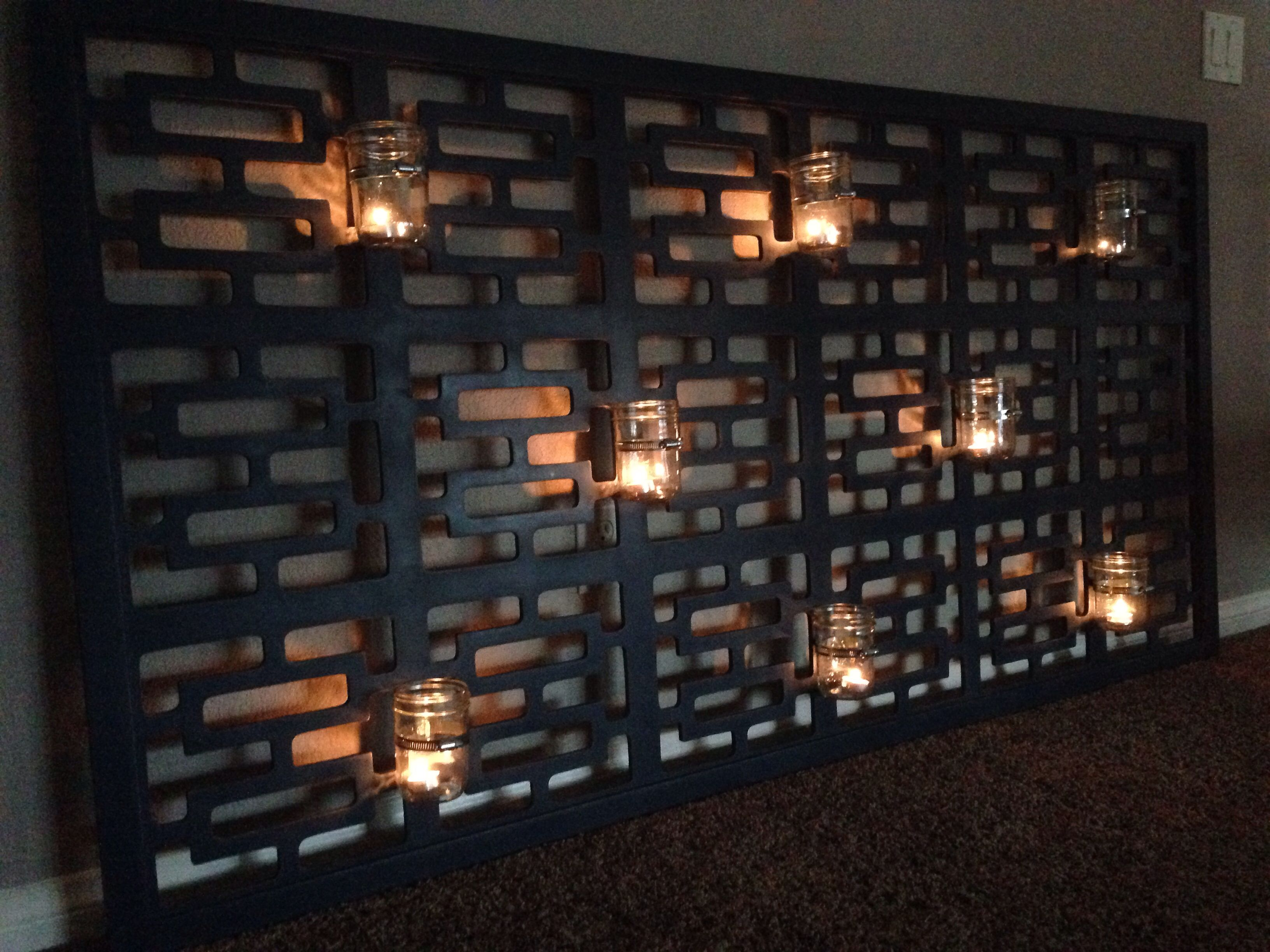 DIY wall art mason jars candles room divider transformation