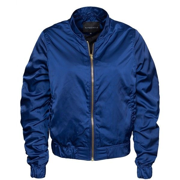 Rut&Circle Price Lina Bomber Jacket ($44) ❤ liked on Polyvore featuring outerwear, jackets, blue, womens-fashion, flight jacket, blouson jacket, zip bomber jacket, zip jacket and blue jackets
