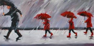 """""""Imprinted"""" by Bev Jozwiak; 3 little girls with red umbrella following father"""
