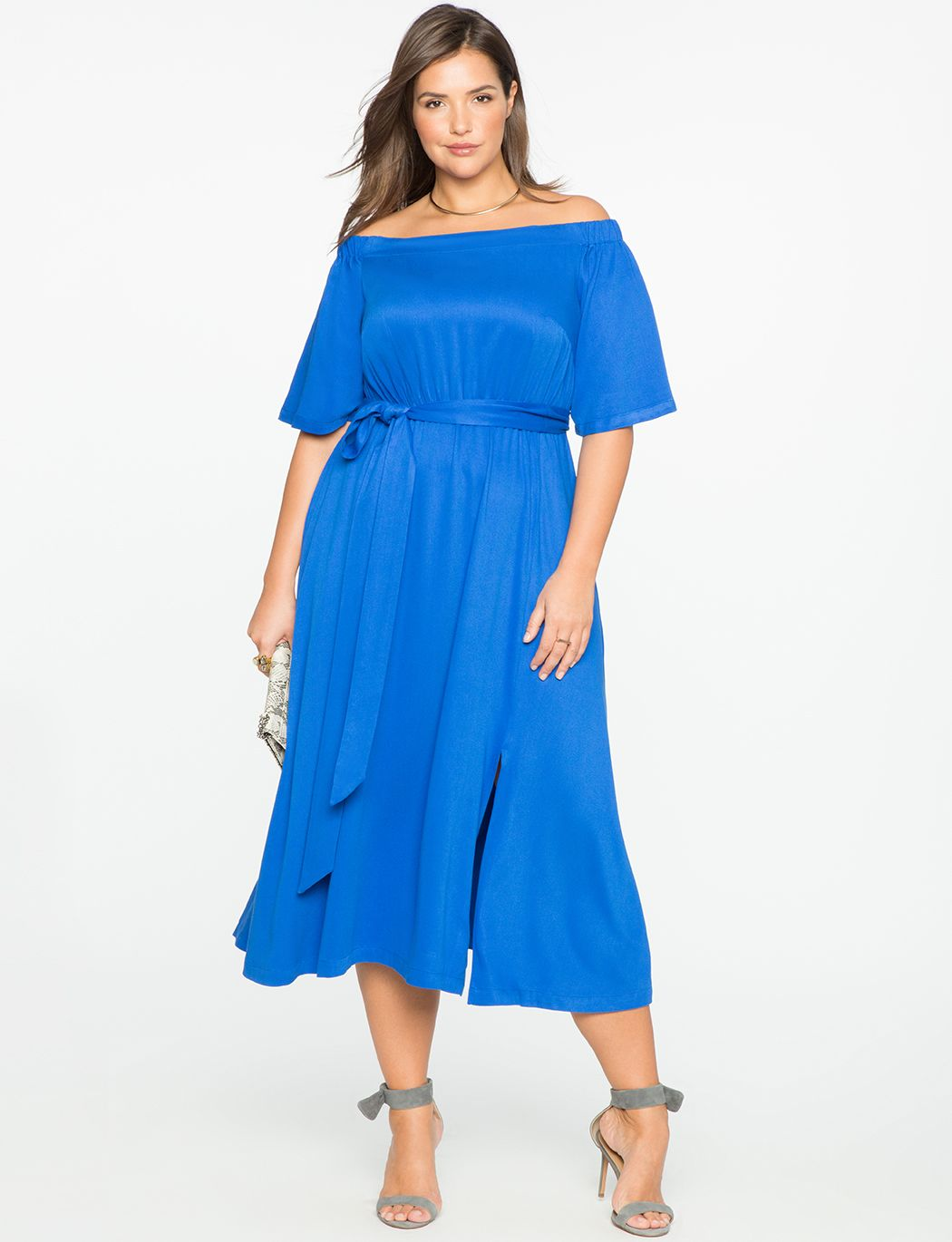 6c7ebba3db853 Off the Shoulder Midi Dress with Wrap Skirt | Women's Plus Size Dresses |  ELOQUII