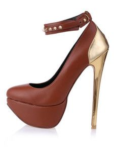 High Heels Retro Chocolate Metallic PU Leather Ankle Strap Pumps For Women