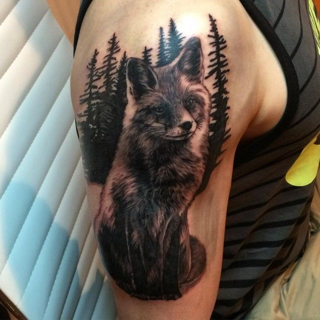 Real Photo Like Black And White Fox Tattoo On Shoulder With Dark Forest Fox Tattoo Nature Tattoos Fox Tattoo Design