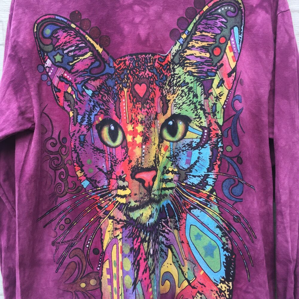 The Mountain Long Sleeve T Shirt Colorful Cat 100 Cotton