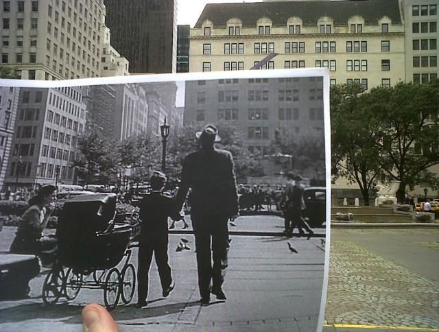"""Scene from the movie """"Gentleman's Agreement [1947]"""" superimpossed over the actual location."""