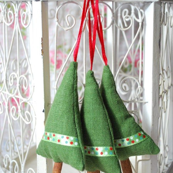 Beautiful cinnamon tree christmas decorations made of linen