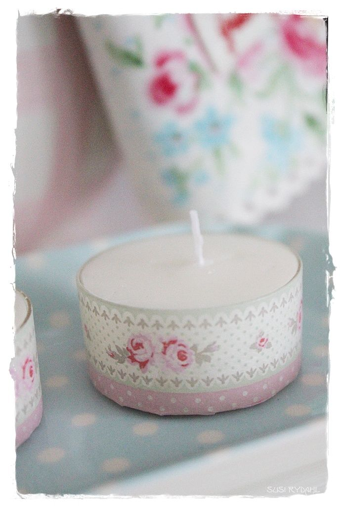 WELCOME TO INTERIOR WITH COLORS : DIY tealights covered with GreenGate tape
