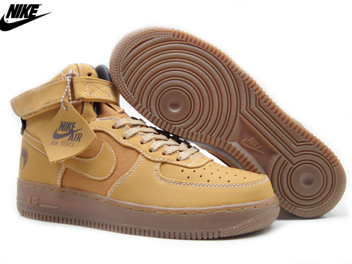 separation shoes 991e9 608b2 Mens Nike Air Force One HI Premium Sneakers Sanded Gold-Wheat 318431-771, Nike-Air Force One Shoes Sale Online