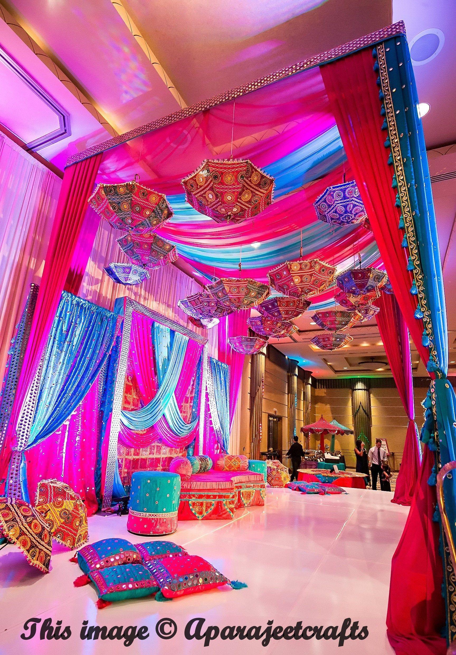 7 Pcs Lot Indian Wedding Umbrella Decoration Mirror Work Vintage