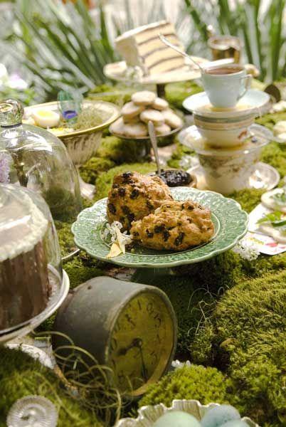 Scones, tea time, moss, grasses